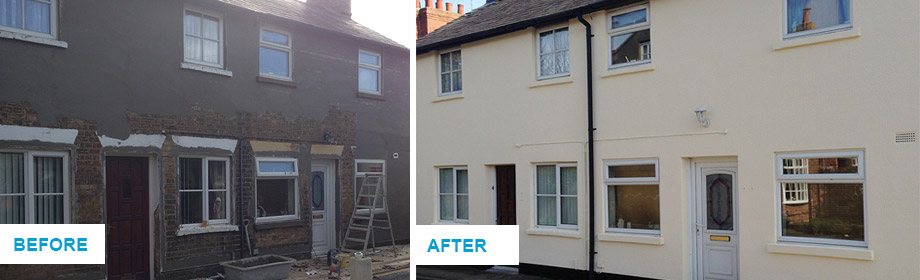before and after wall coatings